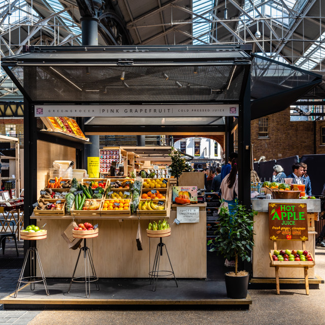 """Old Spitalfields Market in London. Fruits stall"" stock image"