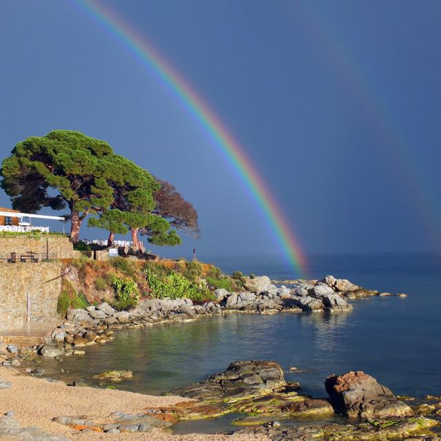 """Double Rainbow Of Calella"" stock image"