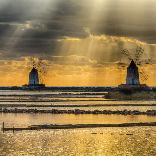 """""""Windmills in the salt pans of Marsala (Trapani, Sicily - Italy)"""" stock image"""