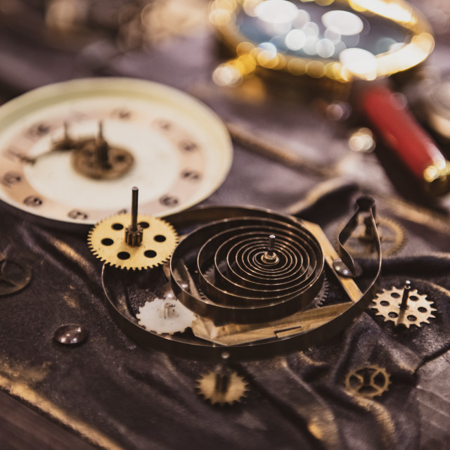 """Old clock gears time concept"" stock image"
