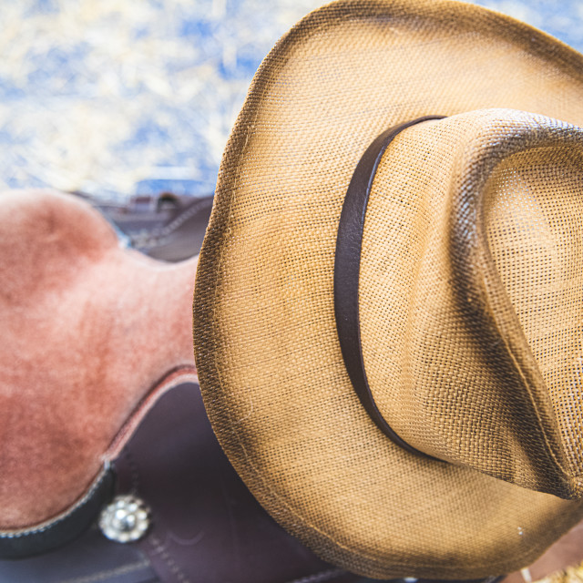 """Cowboy horse riding saddle and hat personal equipment"" stock image"