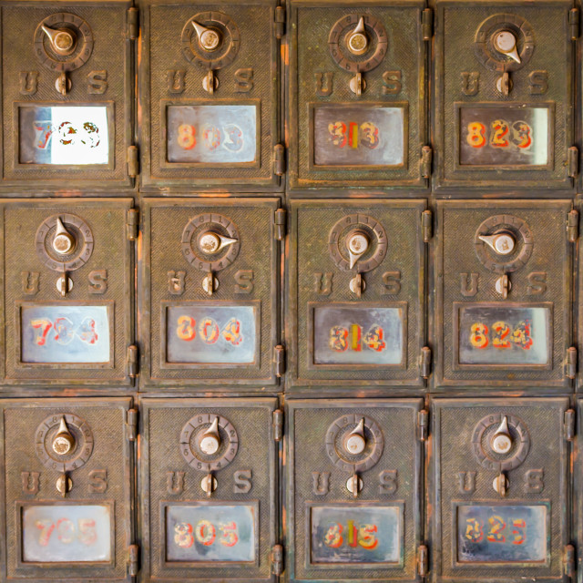 """Vintage post office mail boxes"" stock image"