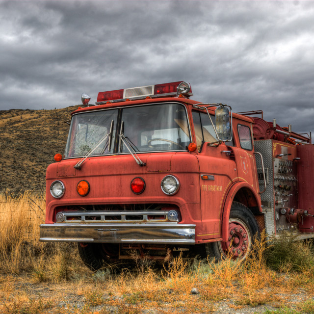 """Vintage Retro red Fire Truck"" stock image"