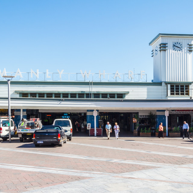 """""""Manly wharf and ferry terminal"""" stock image"""