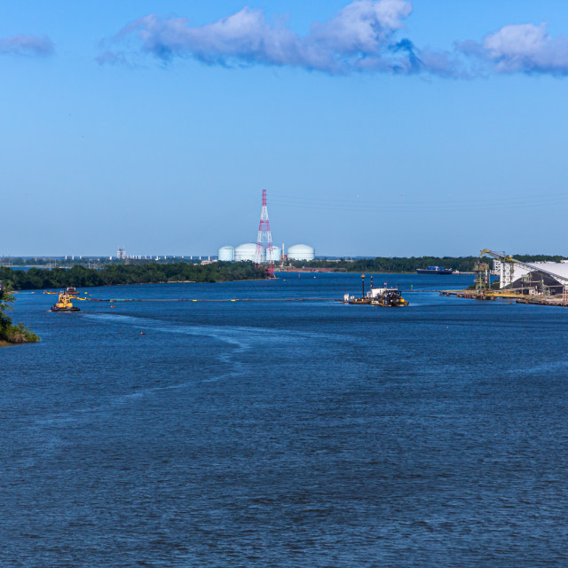 """Dredging Operation in River"" stock image"