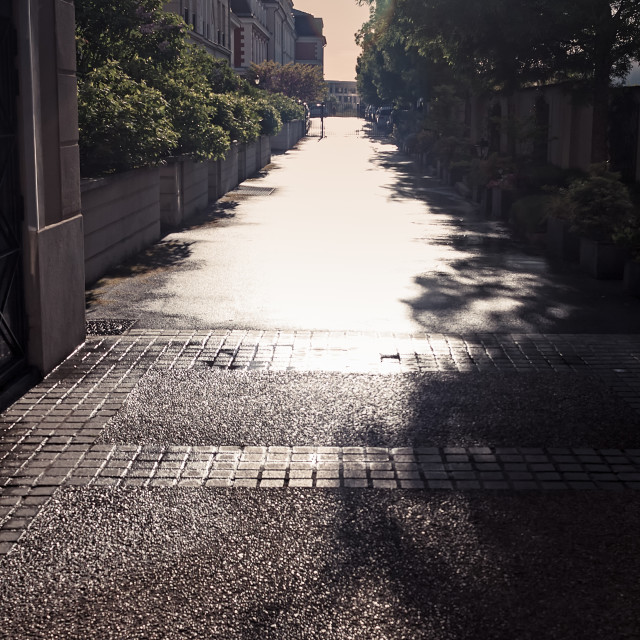 """""""Narrow Alley In Bright Sunlight"""" stock image"""