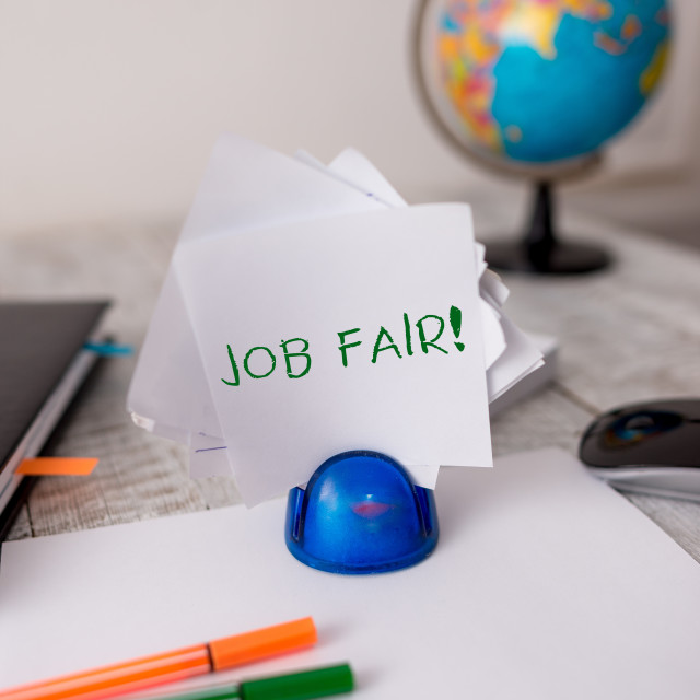 """""""Word writing text Job Fair. Business concept for event in which employers..."""" stock image"""
