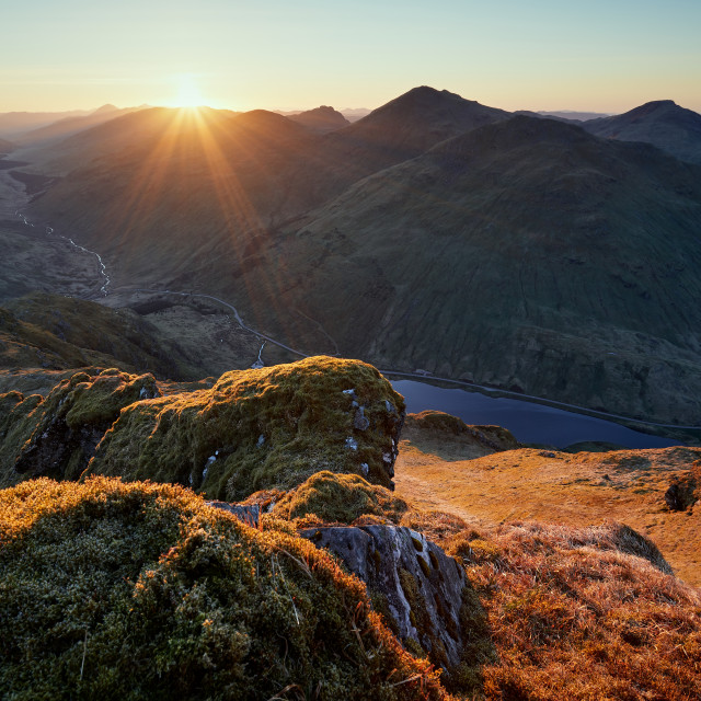 """Spring Sunrise on Beinn an Lochain"" stock image"