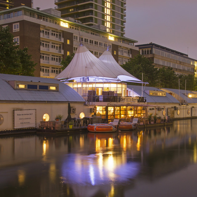 """""""Floating hotel in the blue hour"""" stock image"""