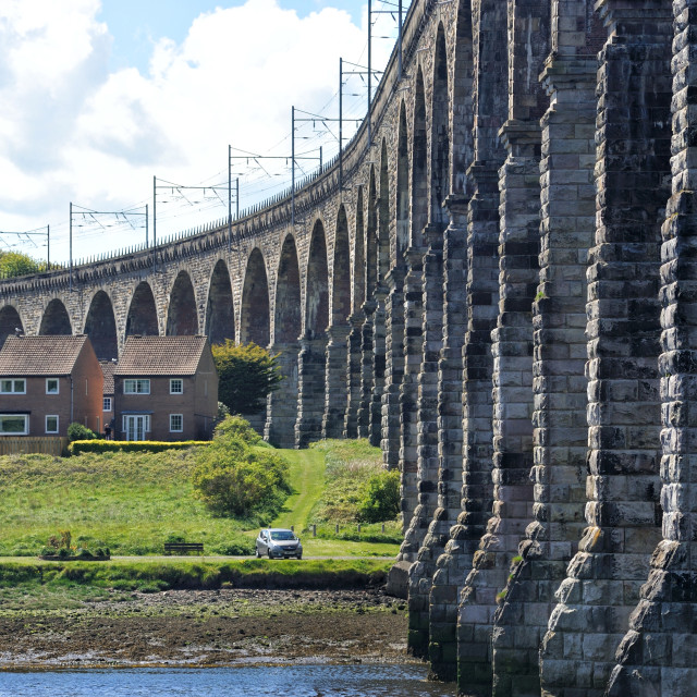 """The Royal Border Bridge at Berwick Upon Tweed"" stock image"