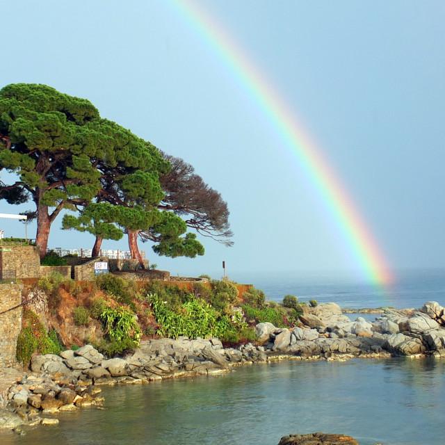 """Rainbow Arc Of Calella"" stock image"
