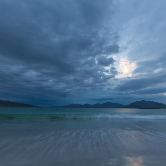 """Dramatic skys over Seileboist, Isle of Harris"" stock image"