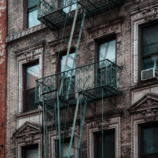 """Exterior of a typical tenement building in New York City, USA"" stock image"