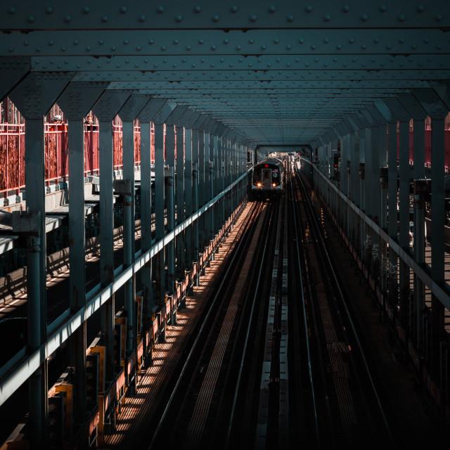 """Williamsburg Bridge Subway"" stock image"
