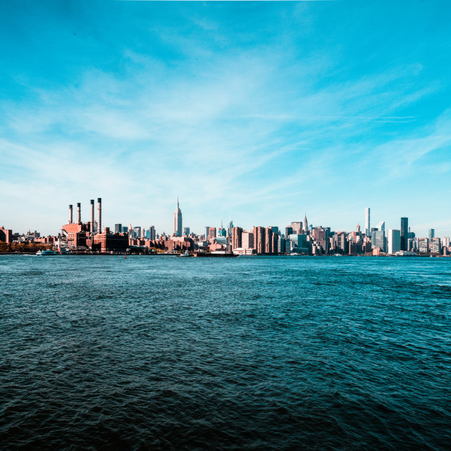 """The Manhattan Skyline from Williamsburg"" stock image"