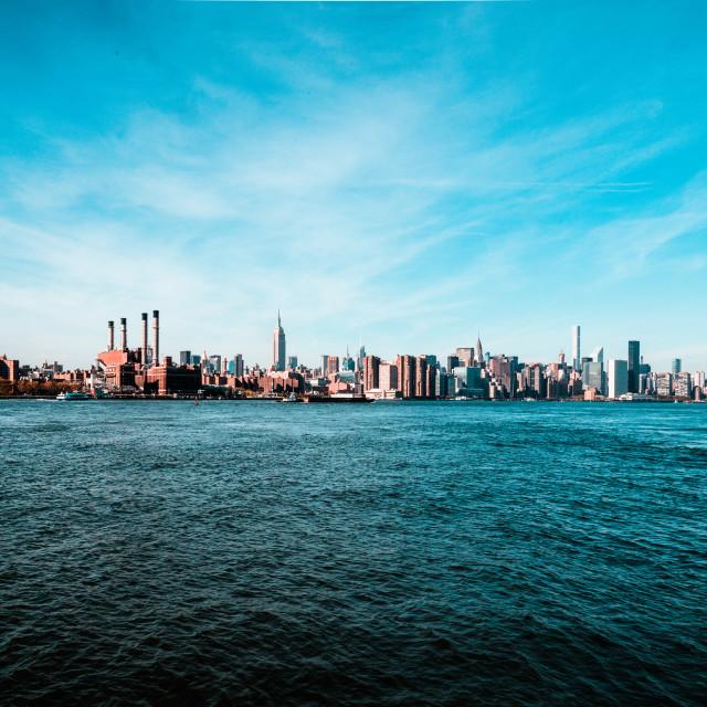 """The Manhattan Skyline from Williamsburg"" stock image"