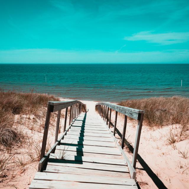 """Looking over the dunes towards Lake Michigan from Saugatuck Beach, MI"" stock image"