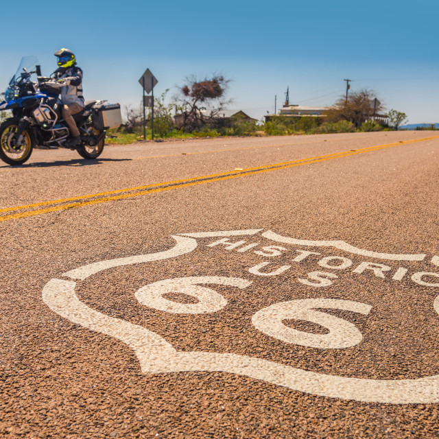 """Motorcycle on Route 66"" stock image"