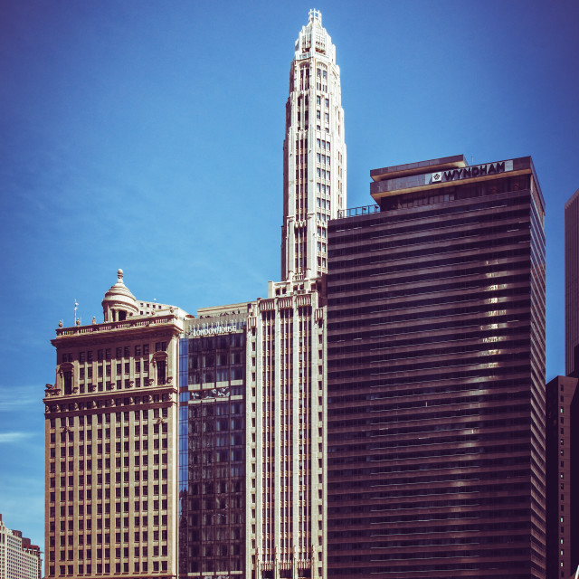 """""""Chicago, Illinois, USA, 20 May 2018. A stylised view of skyscrapers in Downtown Chicago, that were constructed during different periods and architectural styles, located on E. Wacker Drive."""" stock image"""
