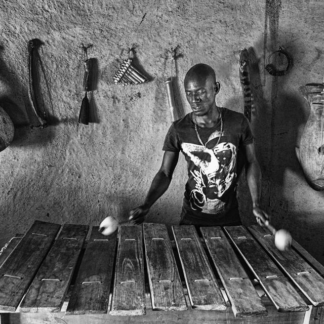 """Drumming Sculptor, Elim"" stock image"