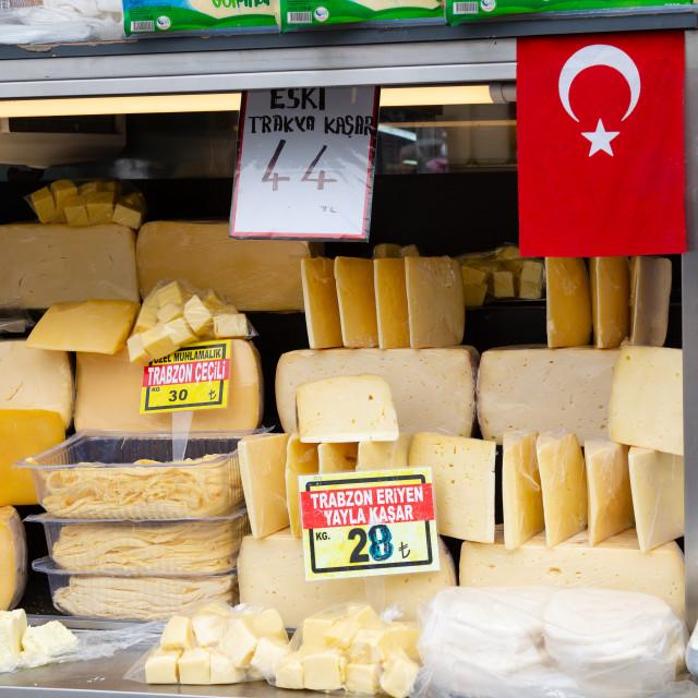 """Turkish Cheese Market Stall"" stock image"