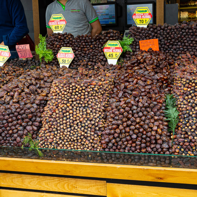 """Selection of Dates on Turkish Market Stall"" stock image"