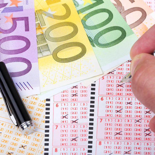 """Lottery ticket with European money"" stock image"