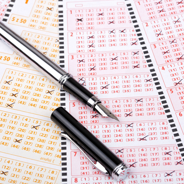 """Lottery tickets with a pen"" stock image"
