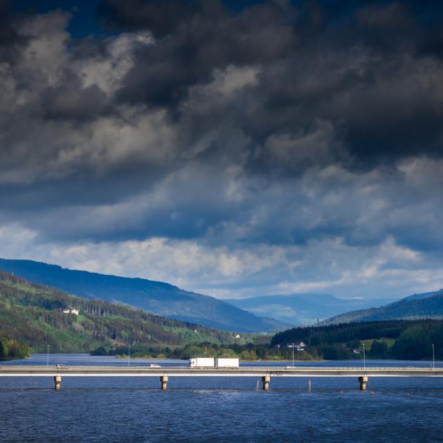 """Bridge to Lillehammer Norway"" stock image"