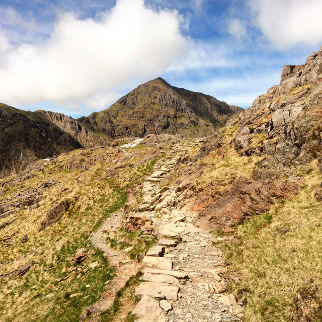 """Snowdon from the PYG Track"" stock image"