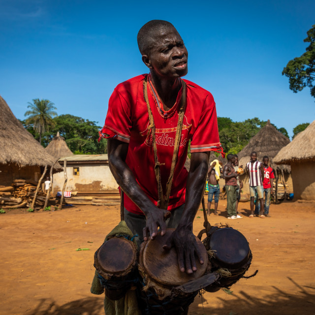 """Dan tribe man beating the drums during a ceremony, Bafing, Gboni, Ivory Coast"" stock image"