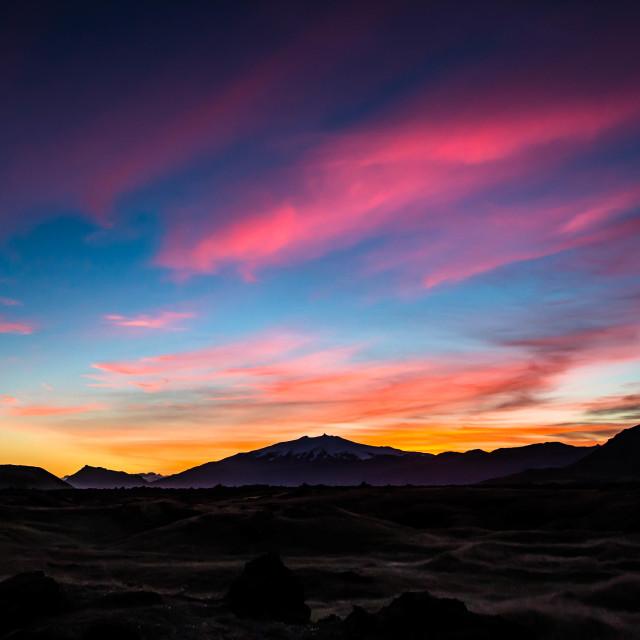 """""""Sunset over Snaefellsjokull Glacier, Iceland"""" stock image"""