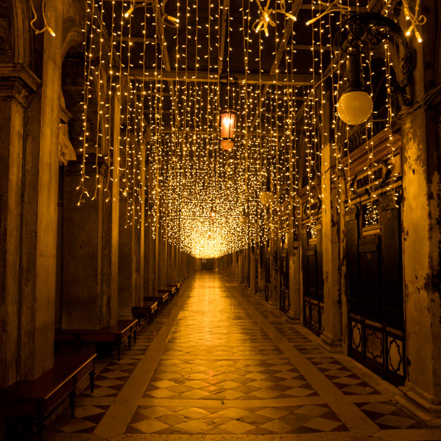 """""""St Marks square colonnades Christmas lights , Venice"""" stock image"""