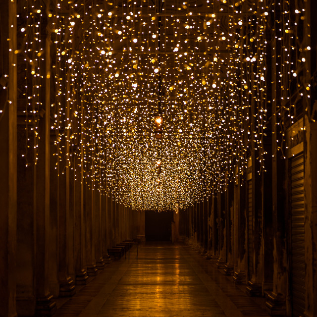 """""""St Marks square colonnades Christmas lights, Venice"""" stock image"""