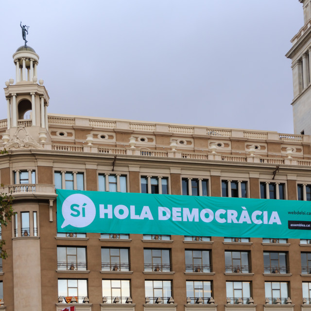 """Huge Hola Democracia Banner Overlooking Placa de Catalunya"" stock image"