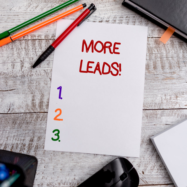 """""""Conceptual hand writing showing More Leads. Business photo showcasing..."""" stock image"""