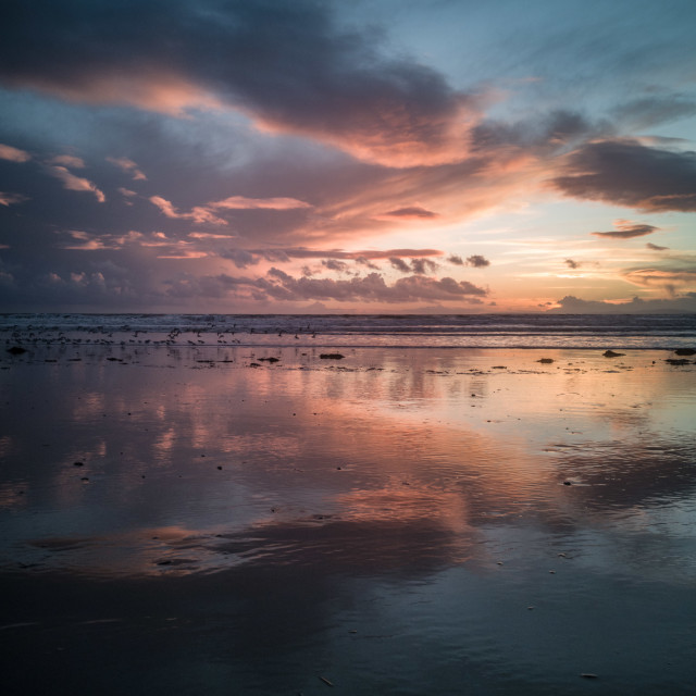 """Harlech Beach sunset"" stock image"