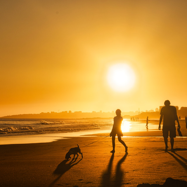 """""""Portugal Carcavelos Beach - People silhouettes at sunset on the beach in the golden hour"""" stock image"""