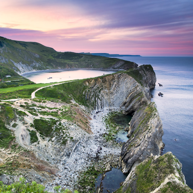 """lulworth cove sunrise"" stock image"