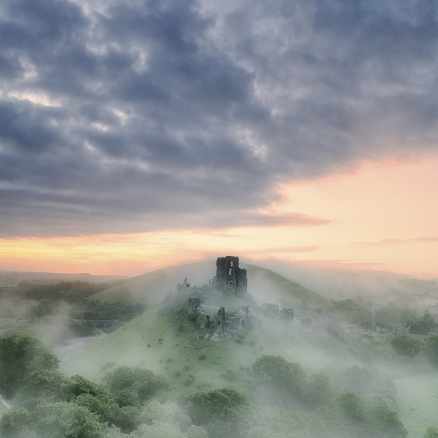 """Corfe Castle in the Mist"" stock image"