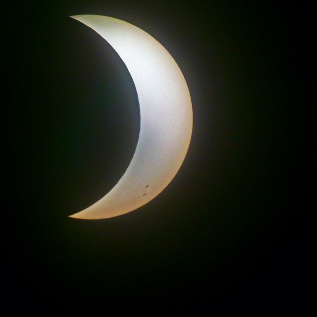 """2017 south Florida solar eclipse at maximum coverage."" stock image"