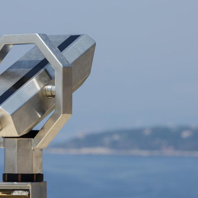 """""""Binoculars on the viewing platform"""" stock image"""