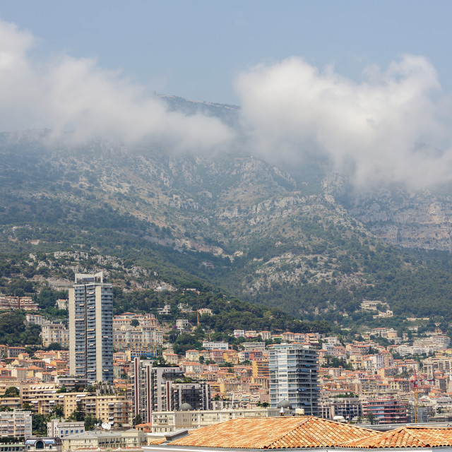 """""""Daylight view to tall city buildings of Monte Carlo"""" stock image"""
