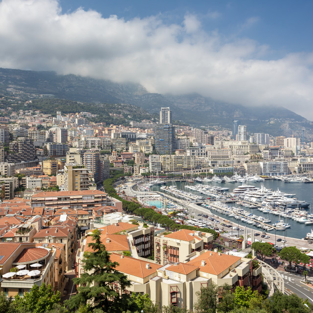 """""""Panoramic view of Monte Carlo harbour"""" stock image"""
