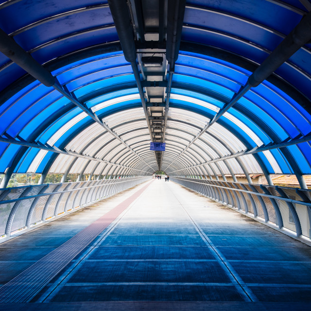 """Pedestrian subway path blue modern diminishing perspective"" stock image"