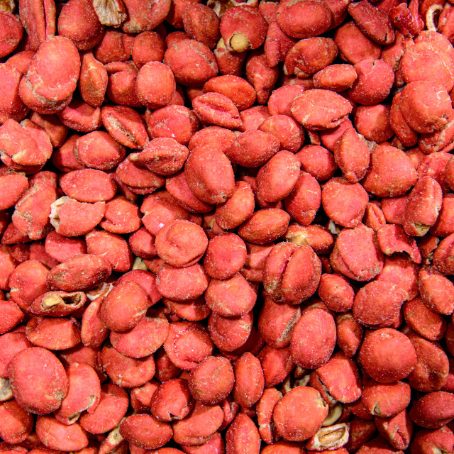 """Spicy asian snack red wasabi flavour peanuts"" stock image"