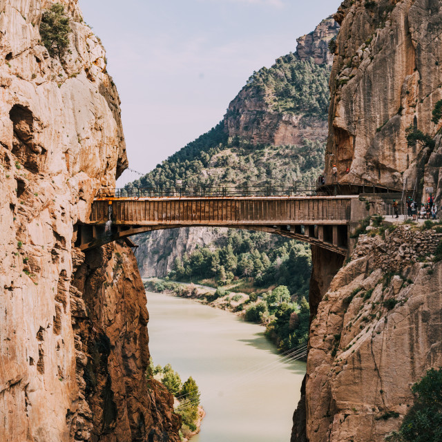 """Bridge over de river among rock mountains in south of Spain"" stock image"
