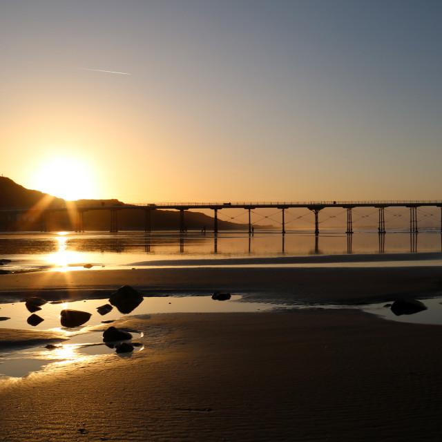 """Saltburn Sunset"" stock image"