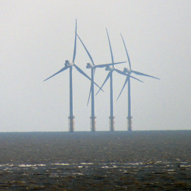 """Wind turbines offshore"" stock image"