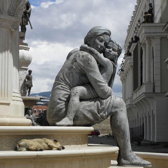 """Mother & child sculpture in Skopje,N Macedonia"" stock image"